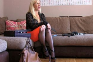 FakeAgent UK - Double penetration for big titted blonde in BDSM style adult casting