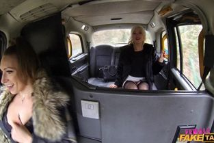 FemaleFakeTaxi - Ava Austen, Misha Mayfair Squirting Lesbian Orgasms in Taxi