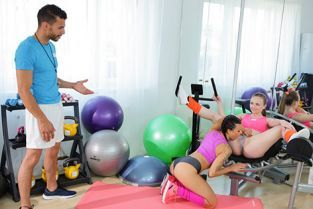 FitnessRooms - Billie Star, Lady Bug Milf and petite nymph gym threesome